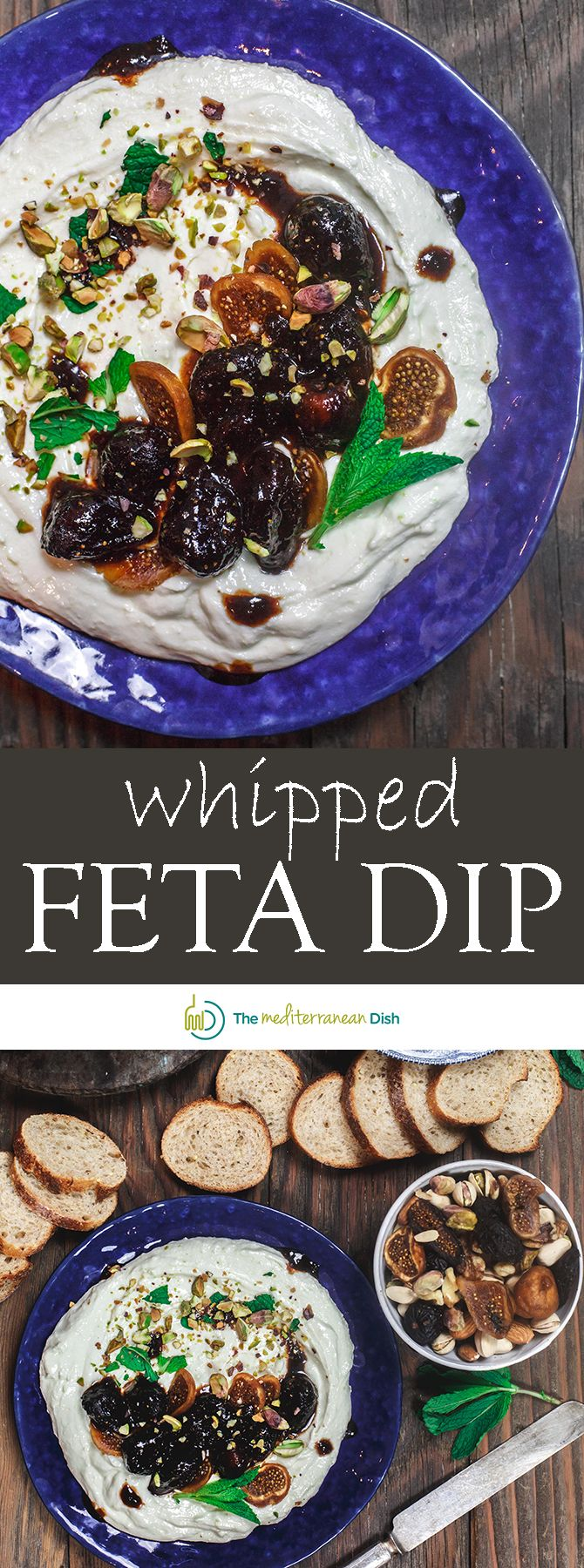 Whipped Feta Dip with Fig Marsla Sauce | The Mediterranean Dish. A quick creamy feta dip that comes together in like 10 minutes! Dried figs poaches in Marsala wine makes the perfect sauce on top. I make this for the holidays, Christmas, and every occasion I can! So good and easy! See it on TheMediterraneanDish.com