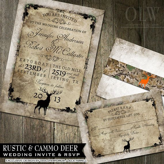 Rustic Distressed Camo Tree Wedding Invitation Suite - Deer, Wood, Fall, Hunter- Digital Invitation, RSVP card