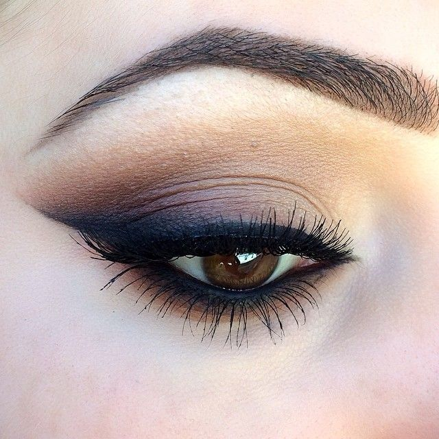 """A closer look at my previous post. Bobbi Brown gel eyeliner for the wing, smoked out with Mac's Carbon and Brown Script shadows. Brows filled with…"""