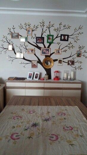 Salonum için kardeşim Nalan Yerlibucak tarafından boyandı #Hayat ağacım#ağaç#boyama#salon dekor
