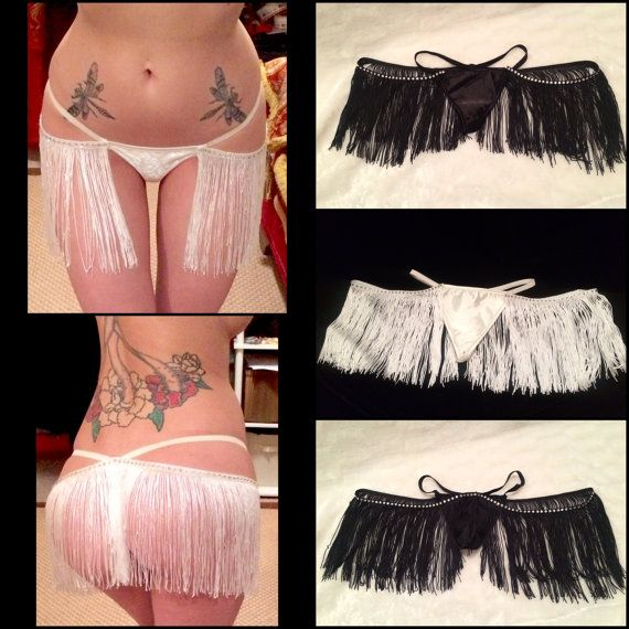 Black Crystal Fringe Burlesque Thong by EmpireCoutureCostume