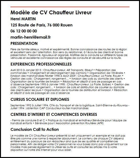 Modele De Cv Chauffeur Livreur Cliquez Sur L Image Pour Agrandir Creer Mon Cv En Cliquant Sur Creer Mon Cv Vous Exemple Cv Assistante De Direction Modele Cv