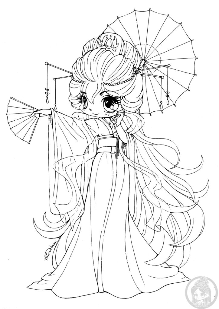 Voyage Japon coloriage a imprimer kawaii chibi YamPuff | Chibi coloring pages, Fairy coloring ...