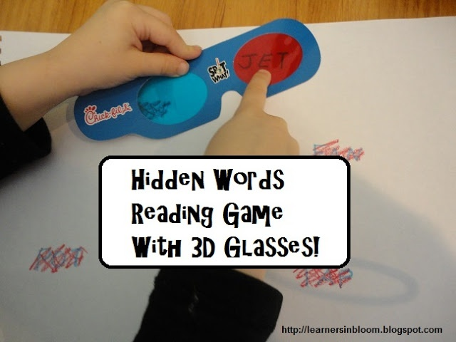 Hidden Words Reading Game with 3D Glasses ~ What a fun and extremely adaptable game! | Learners in Bloom