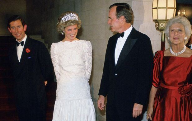 Vice President George H.W. Bush and Barbara Bush greet Prince Charles, Prince of Wales, and Princess Diana, Princess of Wales, at the British Ambassador's Residence on November 11, 1985. (Photo by Tim Graham/Getty Images)