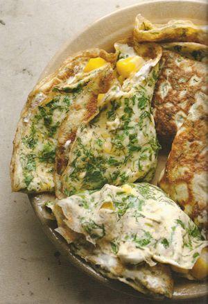 Ottolenghi recept: omelet met snijbiet | hmm! lekker. nog beter met meer citroen, kan prima zonder safraan