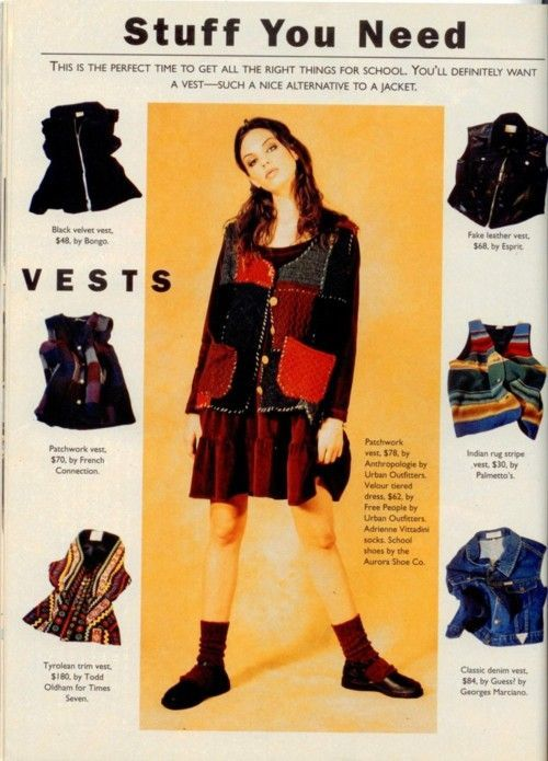 Sassy magazine back to school issue, 1993.  ...those vests are disgusting.