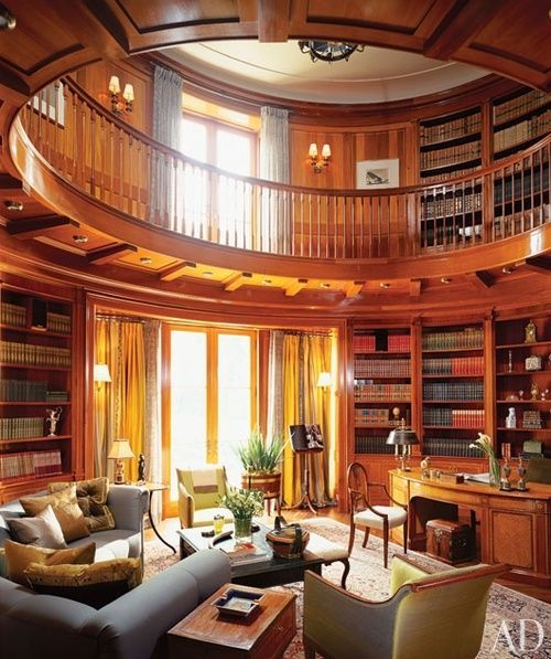 Beautiful circular library; could be a bit smaller, and fit perfectly inside one of the turrets of my castle house.