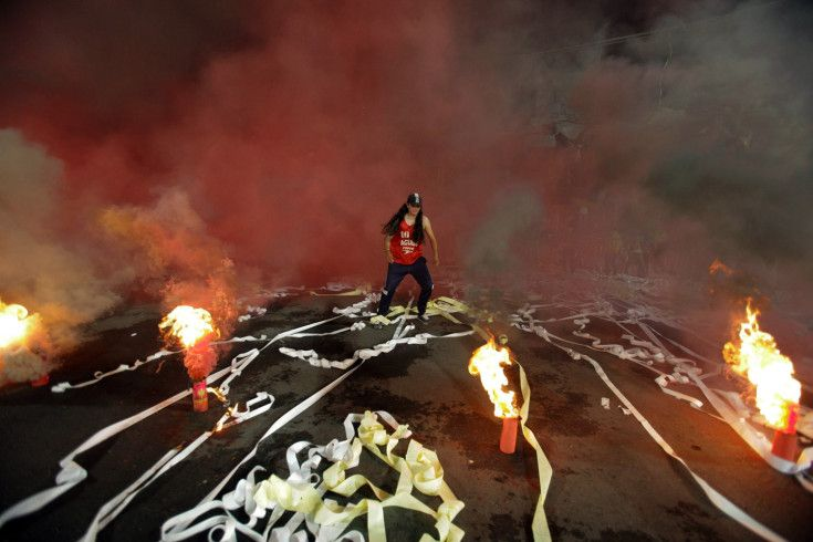 July 10, 2013. A supporter of Colombia's Independiente de Santa Fe before the second leg match of Libertadores Cup semifinals against Colombia's Independiente de Santa Fe, held at El Campin Stadium, in Bogota, Colombia. (Jhon Paz—Xinhua Press/Corbis)