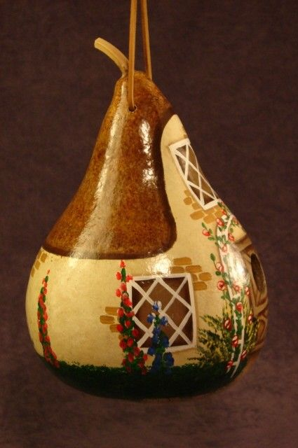 Flower cottage gourd birdhouse by gourdsadored on Etsy