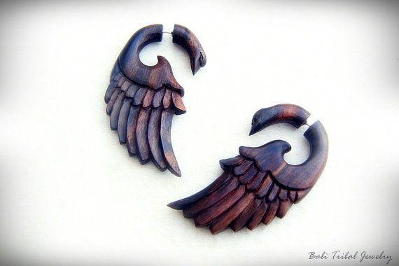 Fake Gauge Wooden Earring, Bird Faux Gauge Sono Wood Fake Piercing Earrings W068-2