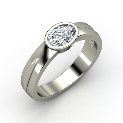 Ella Ring - Oval Diamond Platinum Ring | Gemvara