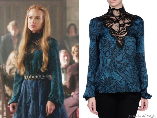 In the episode 2x01 (The Plague) Lady Greer wears this sold out Emilio Pucci Lace Turtleneck Printed Blouse. Worn with Les Habitudes skirt andAnthropologie belt.