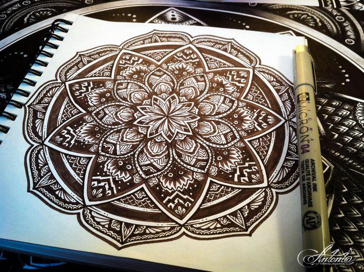 Mandala ... Sepia ... Drawing meditation...