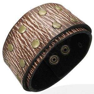 Kožený náramek - hnědá struktura, nýty