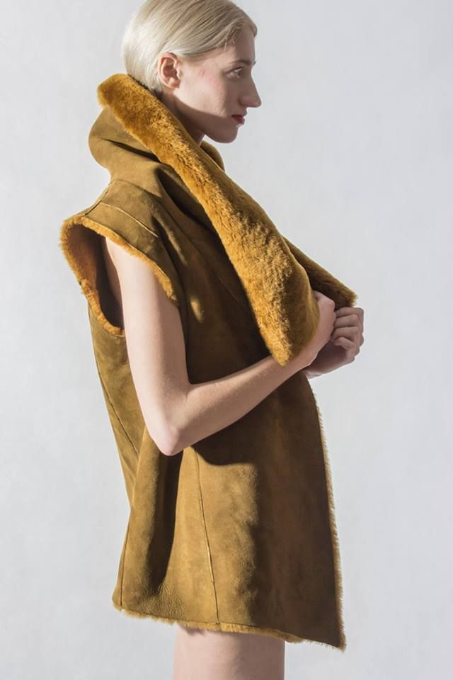 """Keep yourself under wraps of cozy and unique """"Marshia"""" Vest made from finest sheepskin... #leathervests #zayder"""