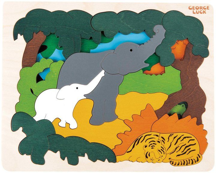 Hape George Luck Asian Animals Wood Puzzle