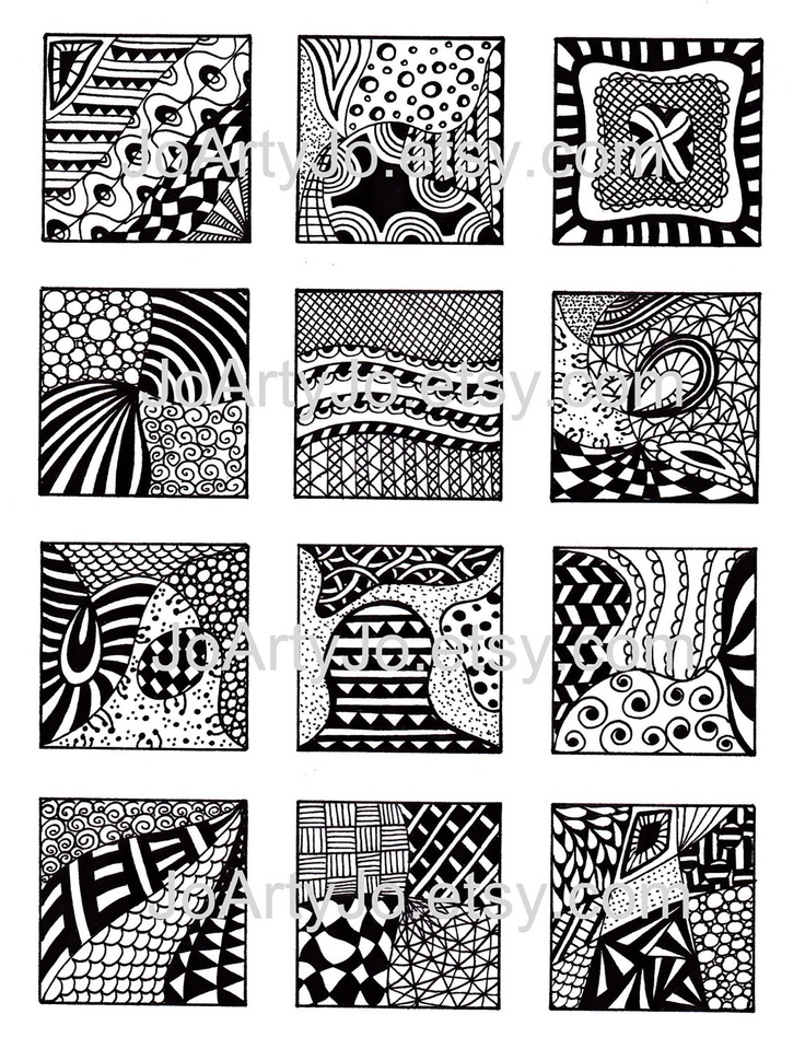 black and white images digital collage sheet instant download abstract zentangle inspired art pdf for scrapbooking sheet 2