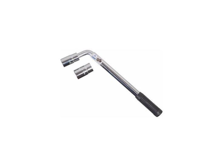 <p>Teleskopický kovový klíč ve tvaru písmene L, který je určen pro povolování či utahování matic kol automobilů</p>