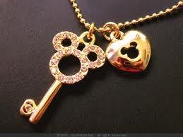 Disney key and lock necklace