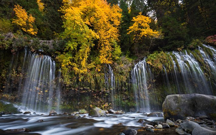 Download wallpapers Mossbrae Falls, autumn, waterfall, rock, yellow trees, Sacramento River, California, Dunsmuir