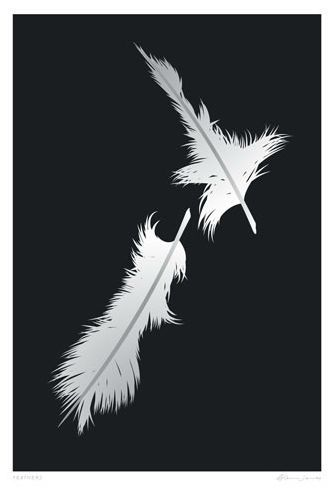 """Check out """"Feathers"""" NZ Map by Glenn Jones at New Zealand Fine Prints"""