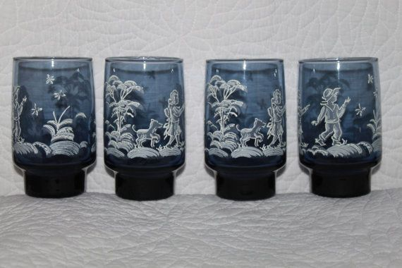 C5 Four Mary Gregory Water Tumblers Blue and by CRAZYMARYSFINDS