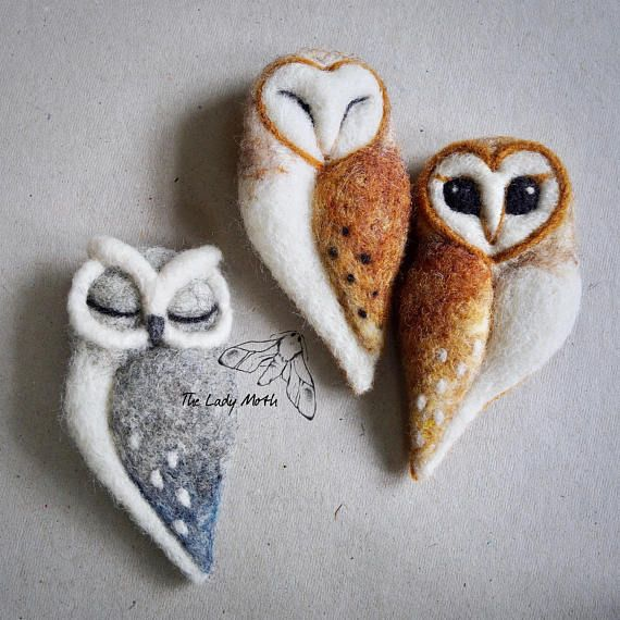 needle felted OWL BROOCH by The Lady Moth grey felt owl