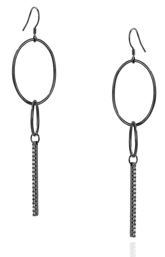 Link large hook black gold vermeil earrings