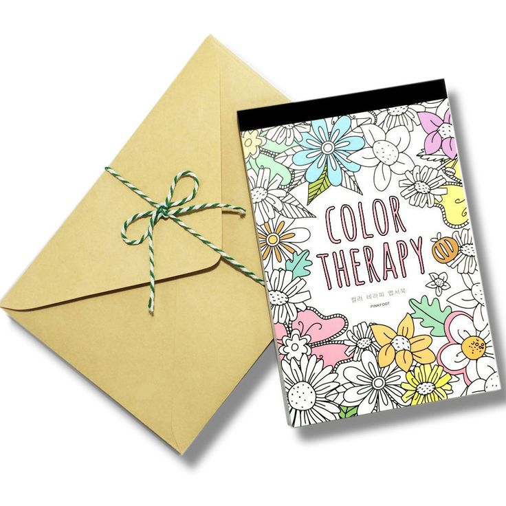 Color Therapy Coloring Book Art 32 Postcards 10 Brown Kraft Envelopes Kit Set