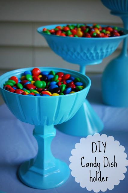 DIY candy dish - wouldn't use for candy but as a centerpiece bowl I like this idea for a party...