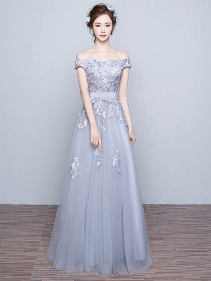 Gray Prom Dresses,off the shoulder Prom Dress,Gray Prom Dresses,Formal Gown,Evening Gowns,Modest Party Dress,Prom Gown For Teens by DestinyDress, $157.39 USD