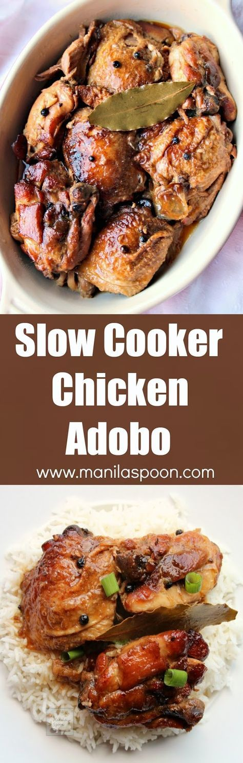 Chicken slowly braised in vinegar, soy sauce, garlic and bay leaves until fall-off-the-bone tender and DELICIOUS. This classic dish can be made a day ahead and tastes even better the next day! Slow Cooker Chicken Adobo | http://manilaspoon.com