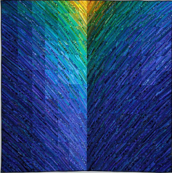 incredible.....Bargello Quilt, Blue Quilt, Art Quilt, Blue Hills, String Quilt, Textiles Art, Quilt Studios, Abstract Landscape, Anne Brauer