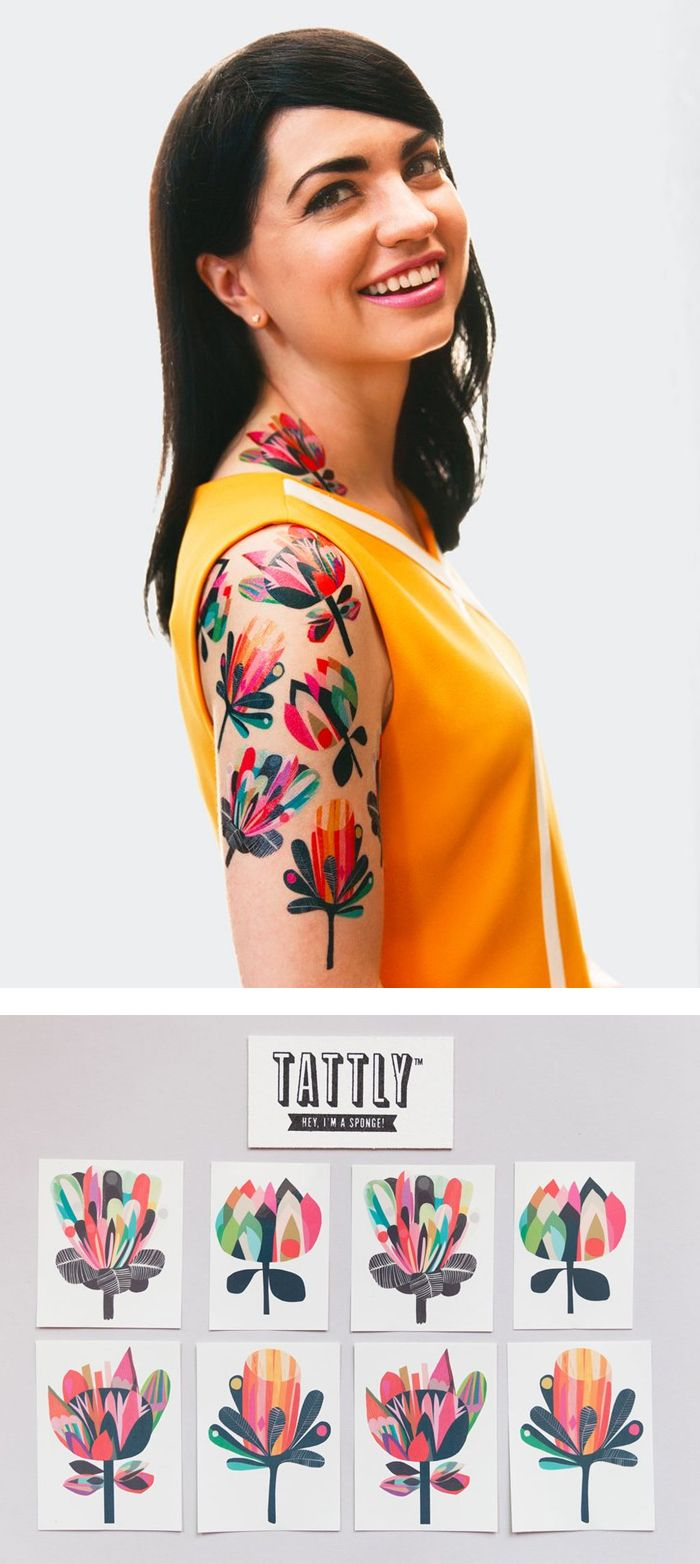 These colorful floral designs by Australian design duo Inaluxe offer a mod take on the traditional botanical tattoo. The Mod Florals Set features 4 different abstracted floral designs, with vibrant color combinations and fun varied petal shapes.