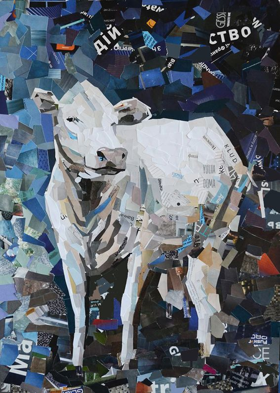 White Cow collage by Yuliia Doma #collage #art #white #cow #ukraine #iloveit