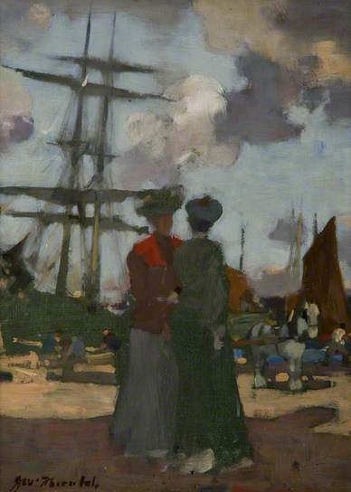Two Ladies at Arbroath Harbour by James Watterston Herald (1859-1914)