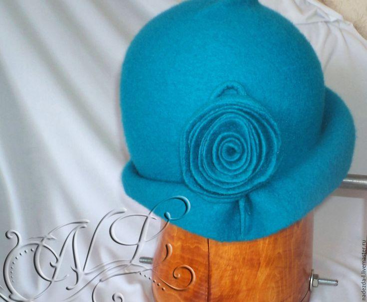 """Купить Шляпка валяная """" Глубина..!"""" - тёмно-бирюзовый, однотонный, шляпка валяная"""