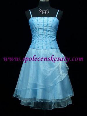 Modré krátké společenské šaty koktejlky na ples svatbu promoce taneční velikost S M 38 40 42 č. 2235