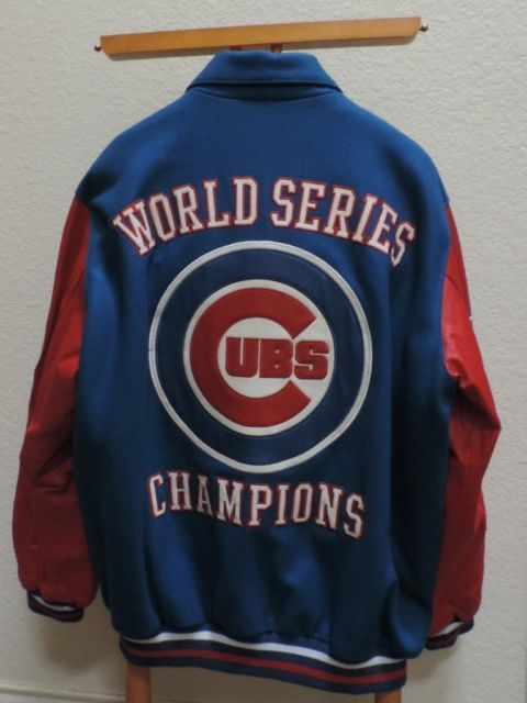Chicago Cubs Jacket Leather Wool XL Letterman World Series 2016 Champs G III | eBay