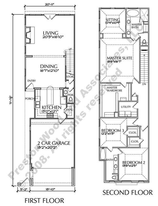 Two story townhouse floor plans narrow yahoo image for Narrow 3 story house plans