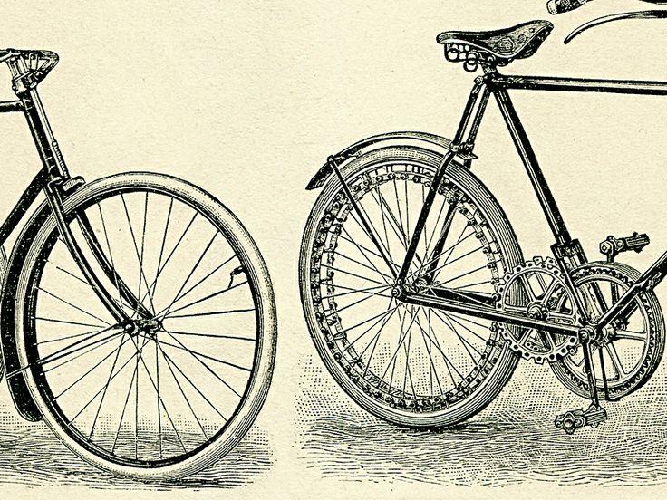 Detail obrazu historických bicyklů, kde je krásně vidět i technické řešení