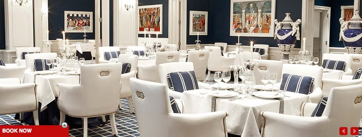 The Grill Room at the Oyster Box Hotel. A swish affair, from white leather chairs to deep blue walls. It's modern, formal and yet remarkably intimate.