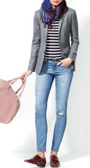 J.Crew Distressed,Toothpick Jeans w/ Stripe Blouse, Blazer & Loafers