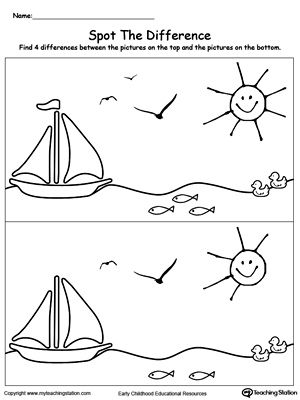 **FREE** Spot The Difference in the Scenary Worksheet. Spot The Differences Worksheets help children practice drawing and the concept of same and different as well as enhancing their focus skills. In this printable worksheet, your child will have to point out the differences between the pictures and draw the missing parts.