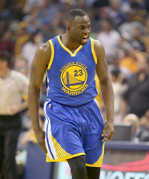 Description of . Draymond Green #23 of the Golden State Warriors celebrates after making a basket against the Memphis Grizzlies during Game 4 of the Western Conference Semifinals of the 2015 NBA Playoffs at FedExForum on May 11, 2015, in Memphis, Tenn.  (Photo by Andy Lyons/Getty Images)