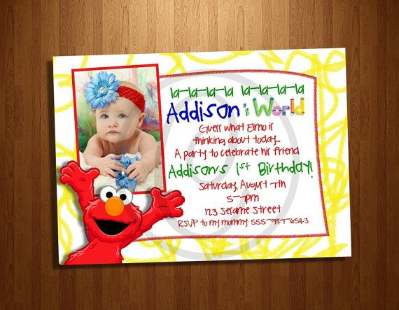 Custom Elmos World Sesame Street Birthday Party Photo Printable Invitation Invite Digital File Boy Or Girl