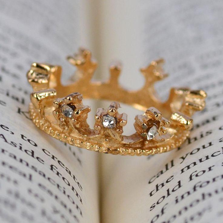 Gold Tone Noble Crown Rhinestone Rings Jewelry Woman Girl Bridesmaids H8427