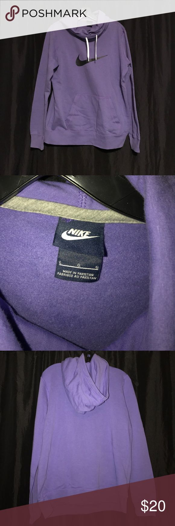 Brand new Nike hoodie Lavender Nike Large women's hoodie! Never worn and in perfect condition. Has black Nike check on chest and white drawstrings. Nike Tops Sweatshirts & Hoodies