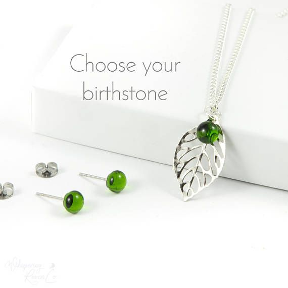 Dainty necklaces for women are perfect to wear everyday! This birthstone  jewelry set features a leaf necklace with matching birthstone earrings.  If simple jewelry is her style, she'll love this thoughtful gift for mom or gift for wife. Handmade by Whispering Raven Co